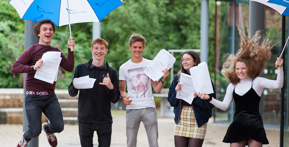 Student Celebrating their A Level results in 2018