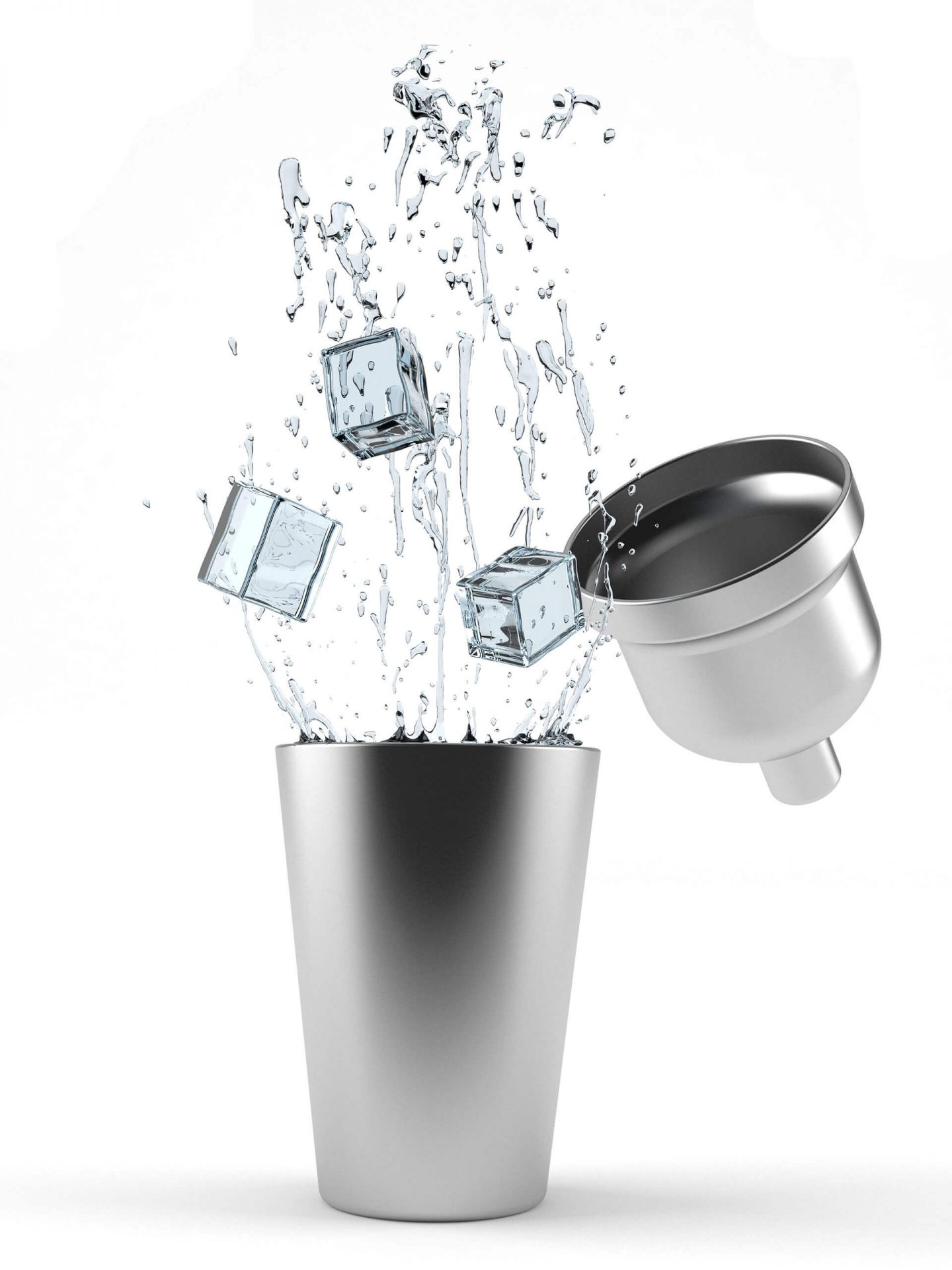 Silver cocktail shaker with ice cubes being dropped in.