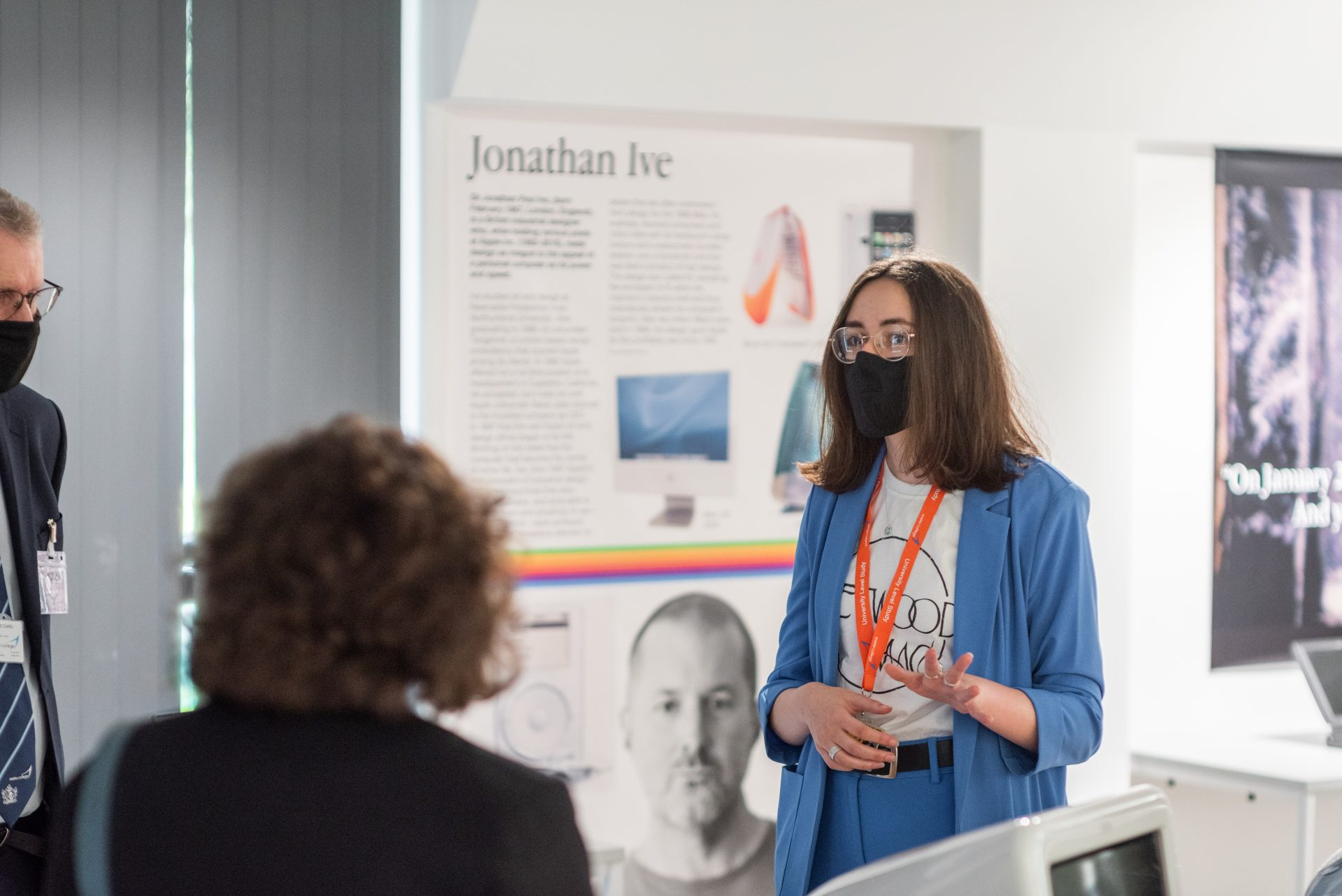 Exeter College student Sophie Bruce gives gusts a tour of the Mac Museum at the official opening of the Institute of Technology Digital and Data Centre.